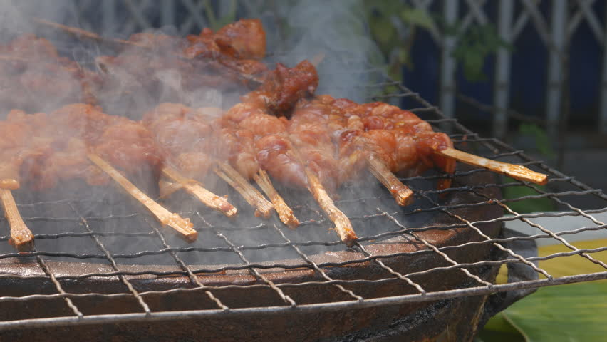 Panning shot of Grilled chicken with bones | Shutterstock HD Video #14382667