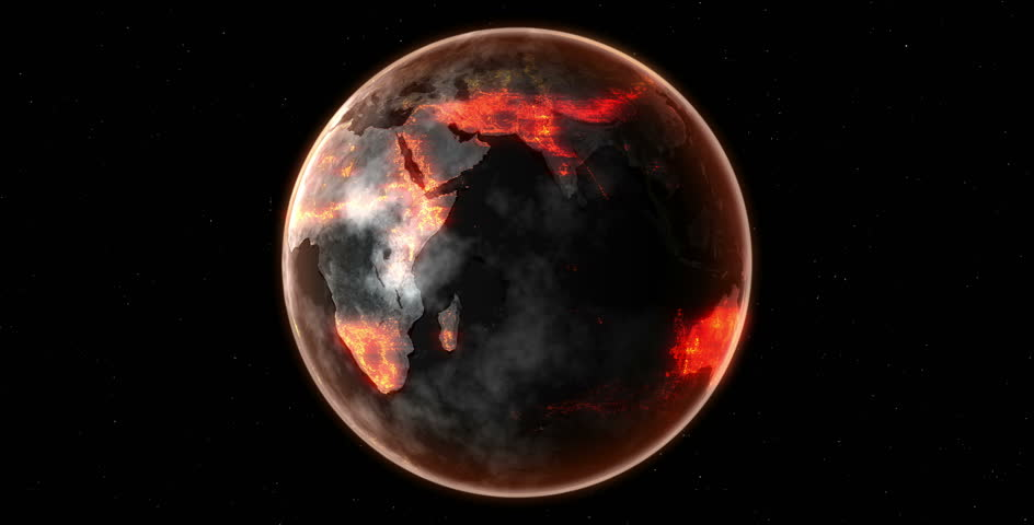 Earth Burn Death Planet   compose picture from NASA | Shutterstock HD Video #14383186