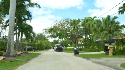 MIAMI BEACH - FEBRUARY 2: Stock motion video of Palm Island and Hibiscus Island which are man-made islands with multi-million dollar estates on the water February 2, 2016 in Miami Beach FL, USA