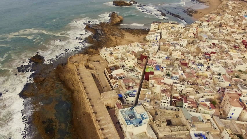 Morocco: Drone footage of Essaouira Ramparts and Medina of Essaouira near Marrakech in Morocco, Africa