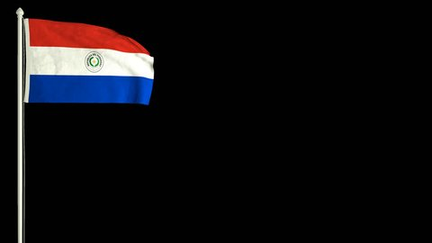 Paraguayan flag waving in the wind with PNG alpha channel for easy project implementation