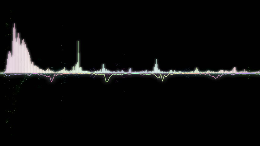 Colorful sound waves, lines and dots. Good background for audio related concepts