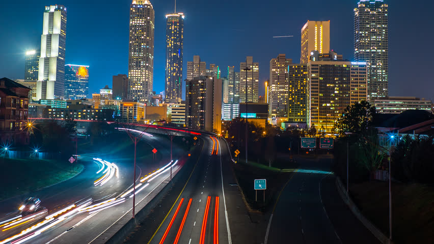 Atlanta City Skyline Time Lapse at Night 4k 1080p Logos Removed Shot from Jackson St Bridge Wide Angle