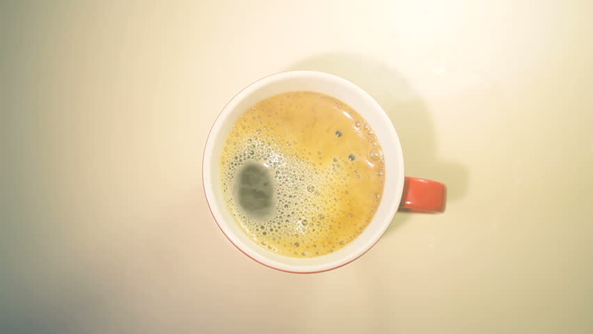 Cup of coffee on wooden table, top view  #14458015