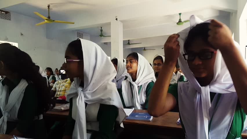 COX'S BAZAR, BANGLADESH, DEC 2015: Portrait of Muslim Bangladeshi students with hijab in a single sex school studying - listening to teacher - Education in Bangladesh Asia | Shutterstock HD Video #14470009