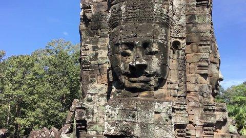 4K UHD video of Prasat Bayon temple, Angkor, Siem Reap, Cambodia.