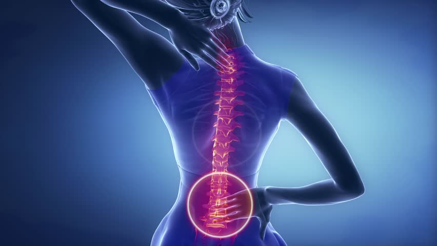 Female backbone pain - spine injury concept in blue