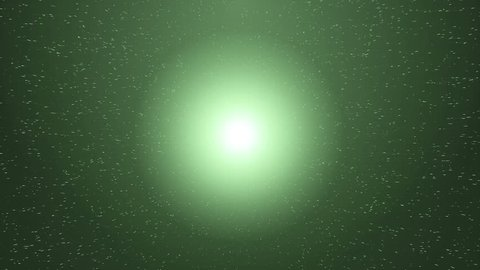 Space green background with particles.Space green dust with stars. Sunlight of beams and gloss of particles.