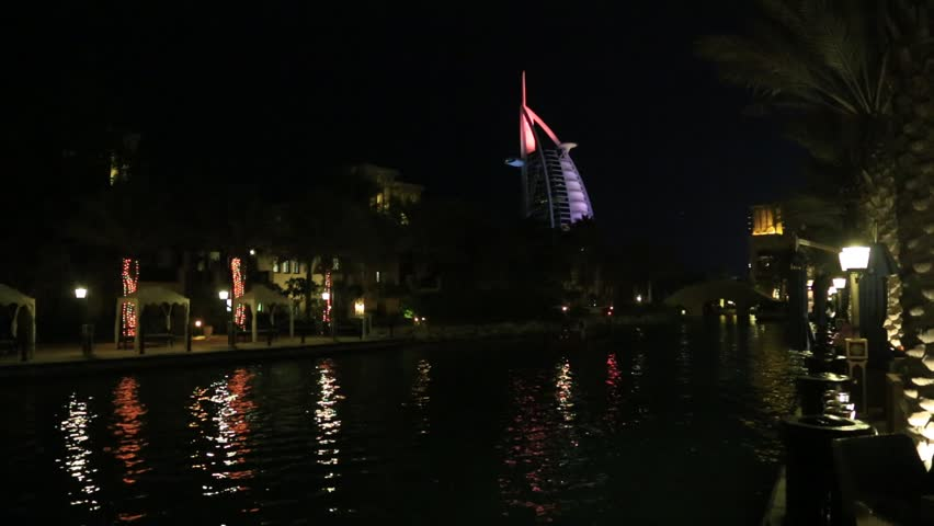 DUBAI, UAE - DECEMBER 5: Burj Al Arab Hotel and Madinat Jumeirah Resort in Dubai on December 5, 2015 in Dubai, United Arab Emirates
