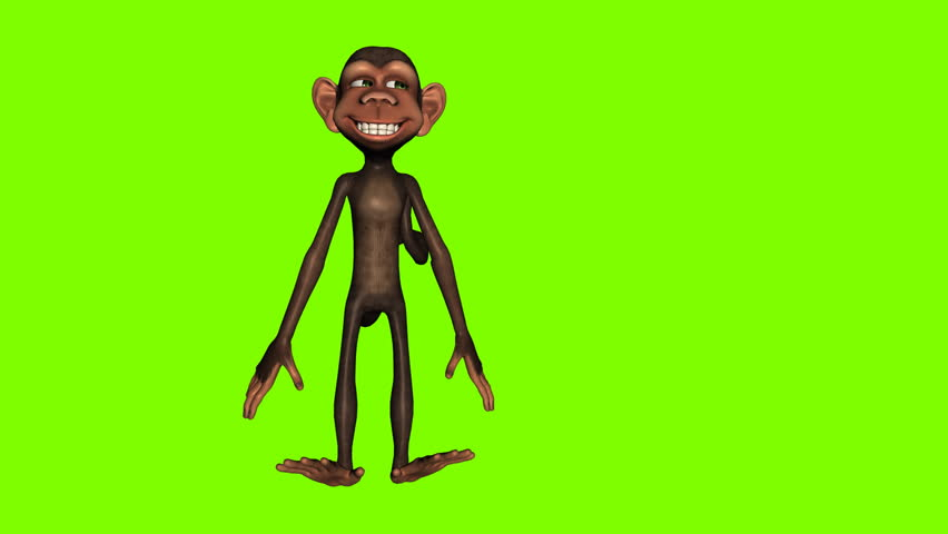Funny cartoon monkey dancing against a green background. Seamless loop animation