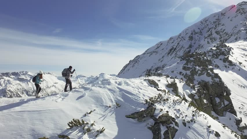 Climbers Walking Up Mountain Expedition Aerial Flight Epic Mountain Range Climb To Success Beautiful Peak Winter Vacation Exploration Adventure Hiking Tourism Concept