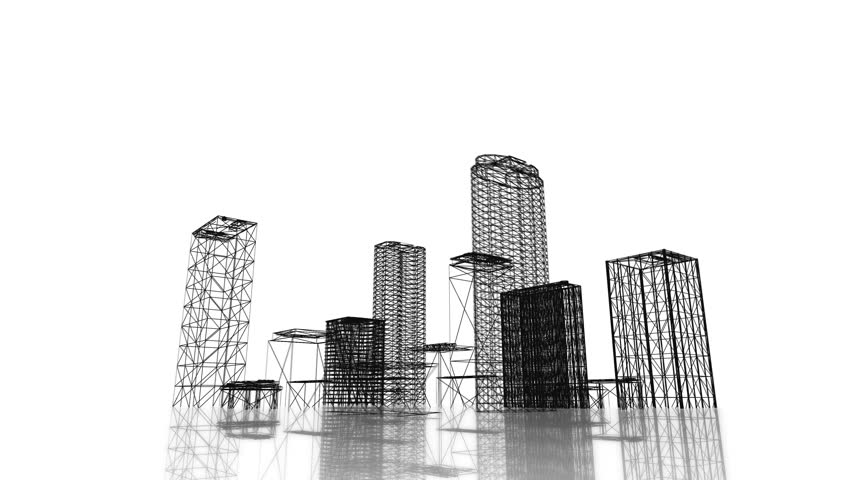 Video 3840x2160 UHD - Blueprint of the business district of the city with skyscrapers and apartment buildings rising out of the ground on white background