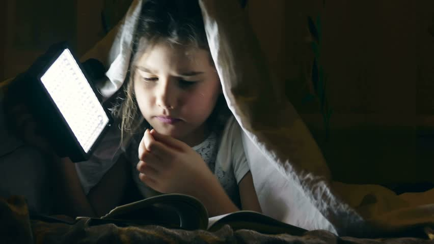 Girl  reading book night under covers with flashlight  | Shutterstock HD Video #14601790