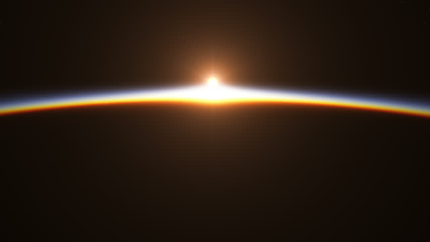 Beautiful And Realistic Sunrise Over The Earth. 3D Animation. Ultra High Definition. 4K.
