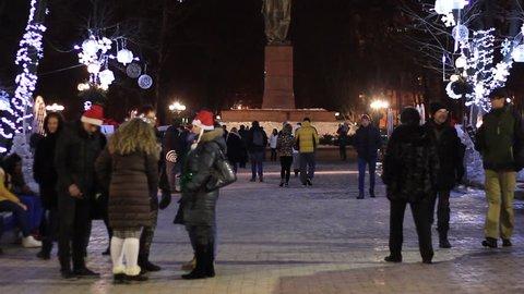 Kiev, Ukraine - December 12 2015: Park Shevchenko  at New Year Holidays