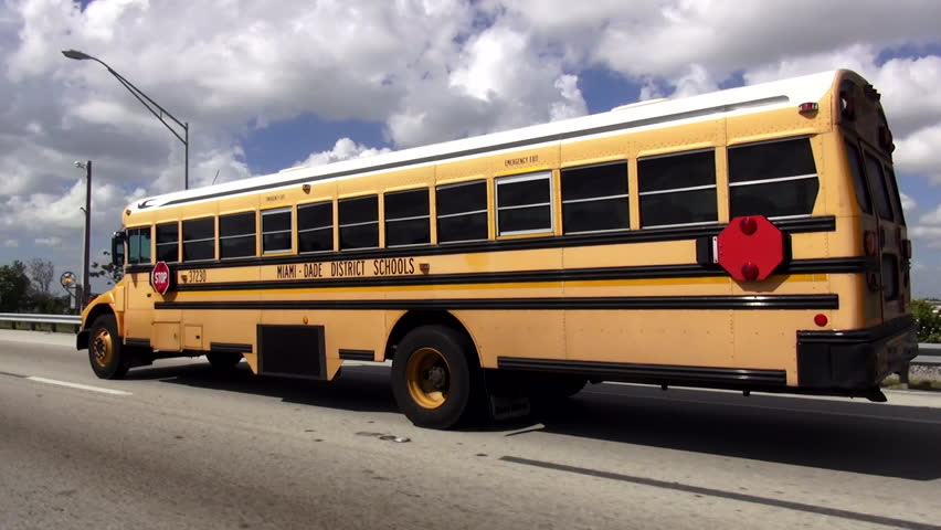 School Bus Miami Dade District Schools – MIAMI, FLORIDA/USA OCTOBER 19, 2015