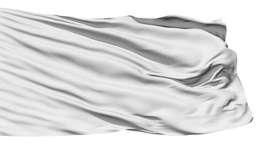 Realistic 3D detailed slow motion white flag in the wind - seamless looping (isolated on white background)