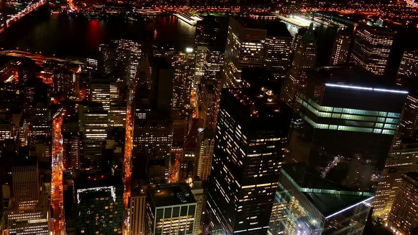 Footage Illuminated Skyscrapers New York City Modern Night Famous Travel Tourism Manhattan Building USA Crowded Timelapse | Shutterstock HD Video #14686306