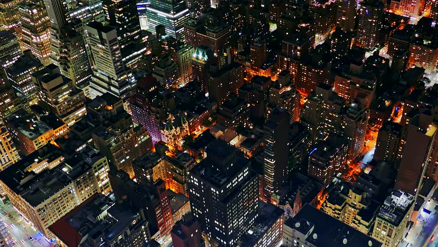New York Skyscrapers Illuminated Modern Night Footage Famous Travel Tourism Manhattan Building City USA Drone Crowded Timelapse | Shutterstock HD Video #14686438