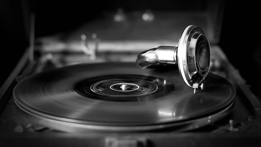 Loop-able Vintage Video of Old Gramophone, playing a record, close up,  (black and white old movies style) - 1920X1080 Full HD