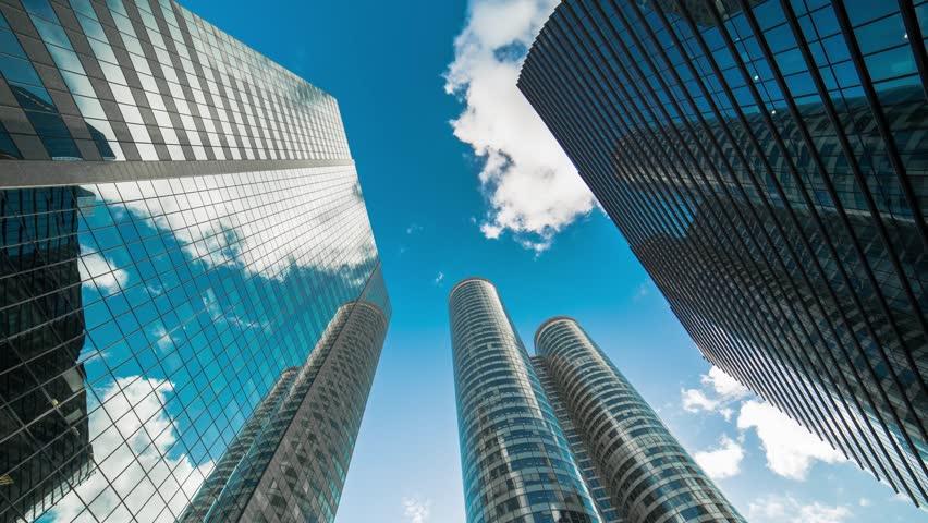 Paris, La defense, Parvis de la Defense,,Paris, building business, Skyscrapers, economy, cloud, time lapse,corporate buildings camera move