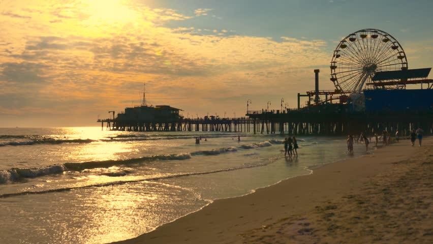 Santa Monica Pier Travel Stock Footage
