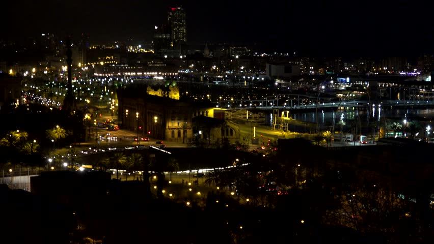 BARCELONA - SPAIN, APRIL 6, 2015, 4K Timelapse of traffic street in Port Vell by night    Shutterstock HD Video #14738707