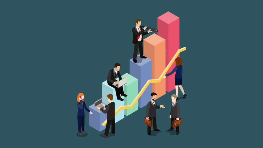 Growing Business concept flat 3d isometric cartoon 4K video. Looped animated businessmen working to charts grow up.