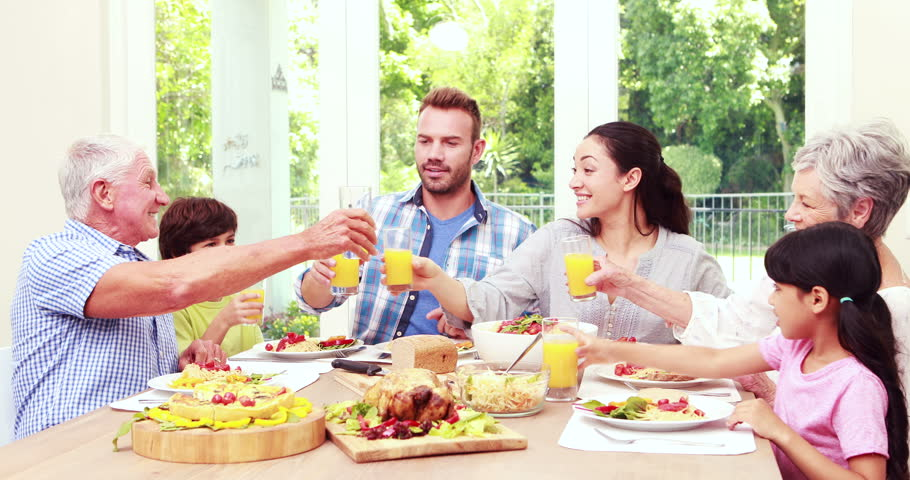 Happy Family Toasting During Lunch : video stock a tema (100% royalty free)  14797873   Shutterstock
