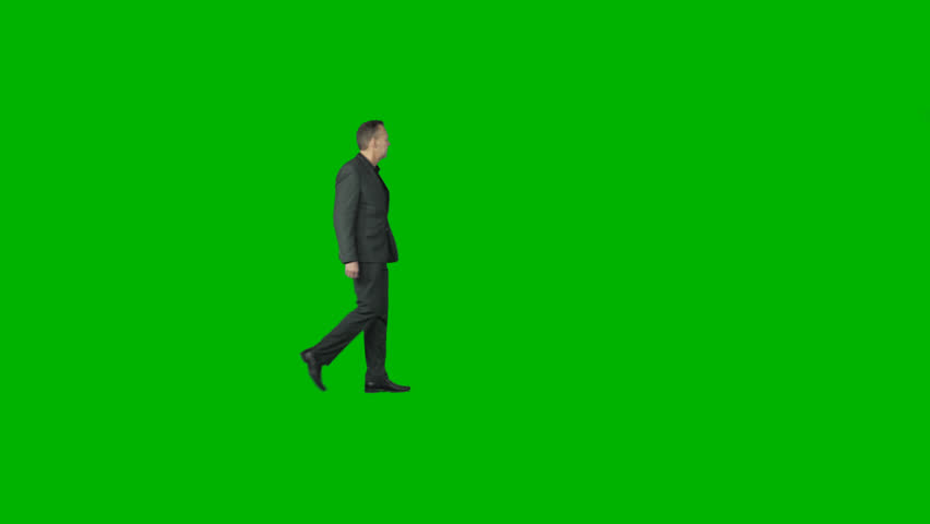 Male in gray walks through the frame. Footage with alpha channel. File format - .mov, codec PNG+Alpha. Shutter angle -180 (native motion blur). Use to combine with you background or other people