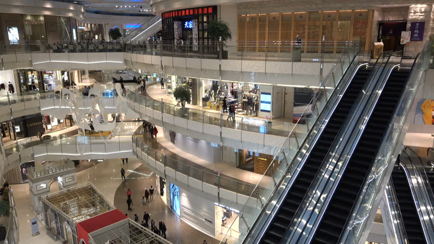 SHANGHAI, CHINA - 1 NOVEMBER 2015: Overview of a quiet shopping mall for luxury brands in Shanghai, perhaps symbolizing China's economic slowdown #14822704