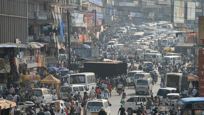 KAMPALA, UGANDA - JANUAR 5, 2016: Aerial view on the street scene on Januar 5, 2016 in the Kampala, Uganda.