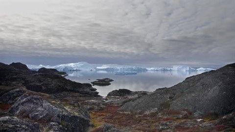 Time lapse of drifting icebergs in Ilulissat, western Greenland.