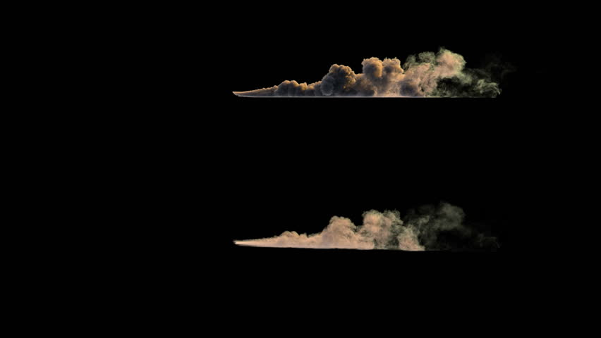 4k side view of dust or smoke trail behind car (uhd 3840x2160, ultra high definition, 1920x1080, 1080p) two different densities, soft and very dense, isolated on black background, with alpha