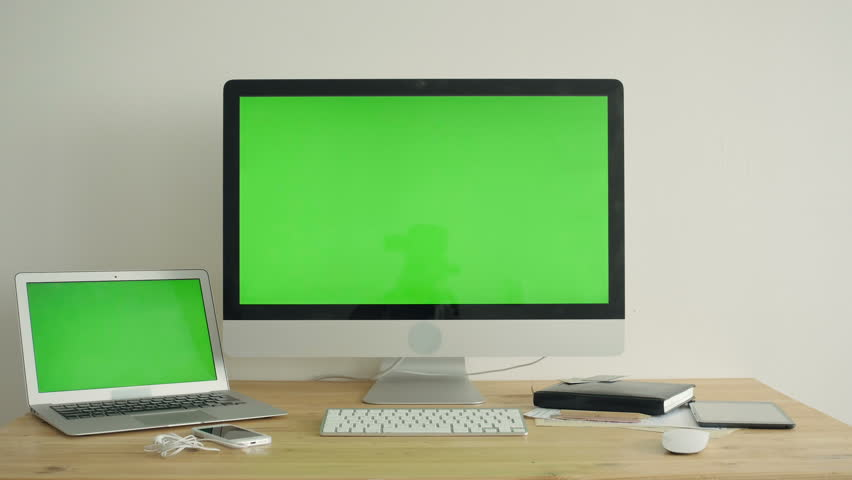 PC Display With Green Screen On The Table   Shutterstock HD Video #14882356