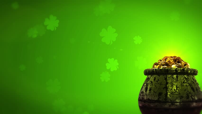 St Patrick Day Shamrock and Golden coins St Patrick Day symbols pot of gold background