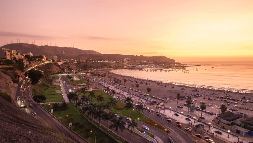 LIMA, PERU - CIRCA 2016: Timelapse in Agua Dulce beach at the sunset circa 2016 in Lima, Peru.