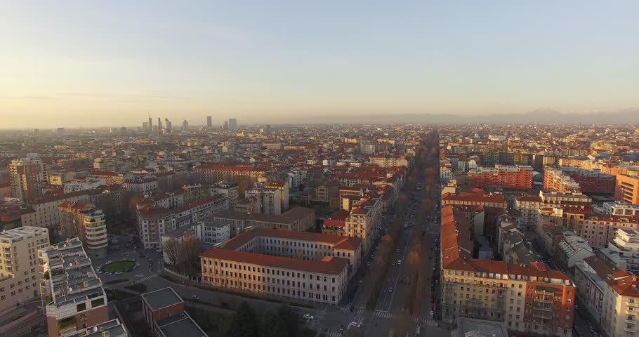 MILAN // Italian Boulevard // Aerial Footage - Riprese Aeree // 4K A short flight revealing the city of Milan and it's skyscrapers during a clear afternoon.