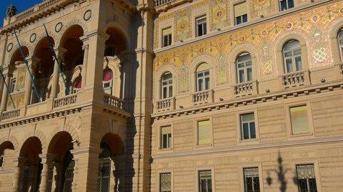 TRIESTE, ITALY, Palazzo del Governo, main facade. Italian architecture of 19th century.