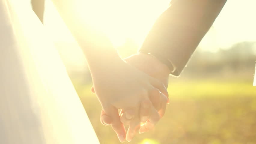 Marry Me Today And Everyday. Newlywed Couple Holding Hands, Shot In Slow Motion #15004240