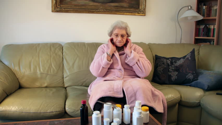 Sick Old Woman On Couch Stock Footage Video 100 Royalty