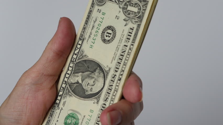 Counting Money Us One Dollars Royalty-Free Stock Footage #15014233