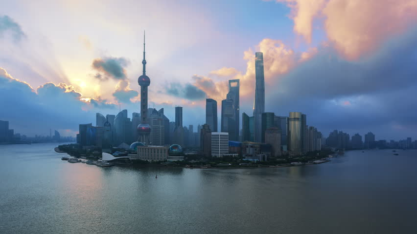 """4K (4096x2304) , Aerial View of China Shanghai Skyline and Huangpu River at Sunrise.  - >>> Please search similar: """" ShanghaiSkyline """" ."""
