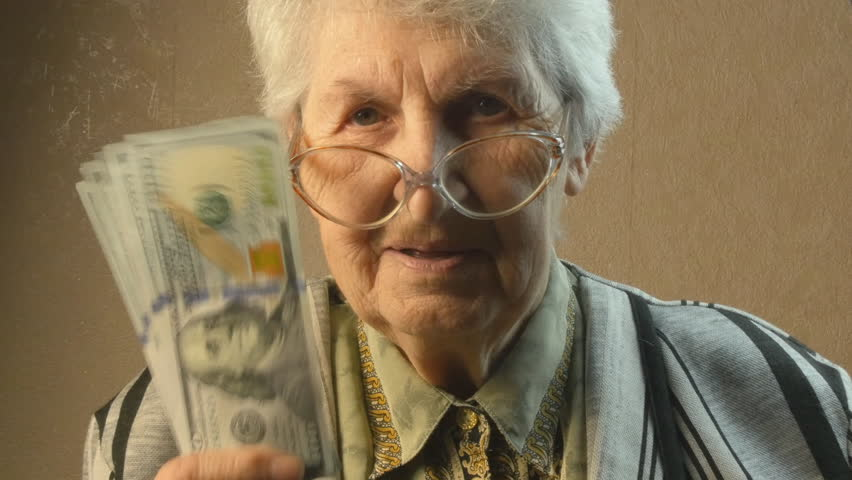 Old woman rejoices money Royalty-Free Stock Footage #15053785