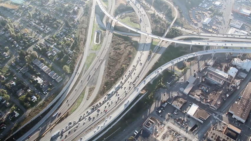 Airplane view of two intersecting highways near Tacoma, WA | Shutterstock HD Video #1506944