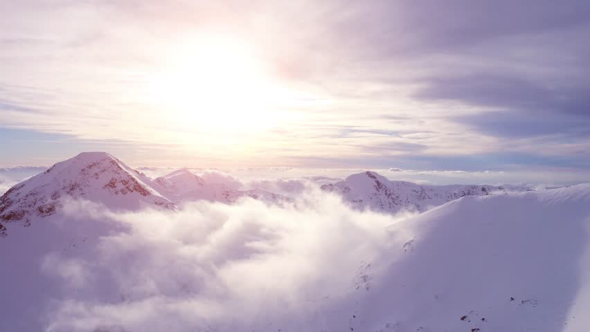 Beautiful Mountain Sunset Winter Mountain Landscape Inspiration Motivation Beauty Of Nature Travel Exploration Aerial Flight UHD 4K