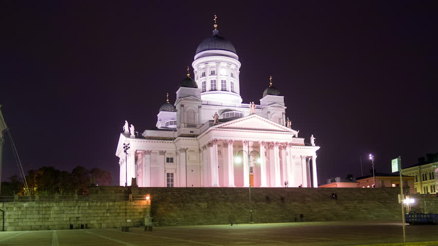 HELSINKI - 20 OCT: Time-lapse vide of Helsinki Cathedral, a distinctive landmark in the Helsinki cityscape on 20 October 2014 in Helsinki, Finland