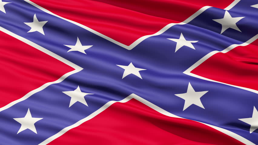 A close up of Confederate Battle Flag or St Andrews Cross in use during the American Civil War, seamless looping #1509785