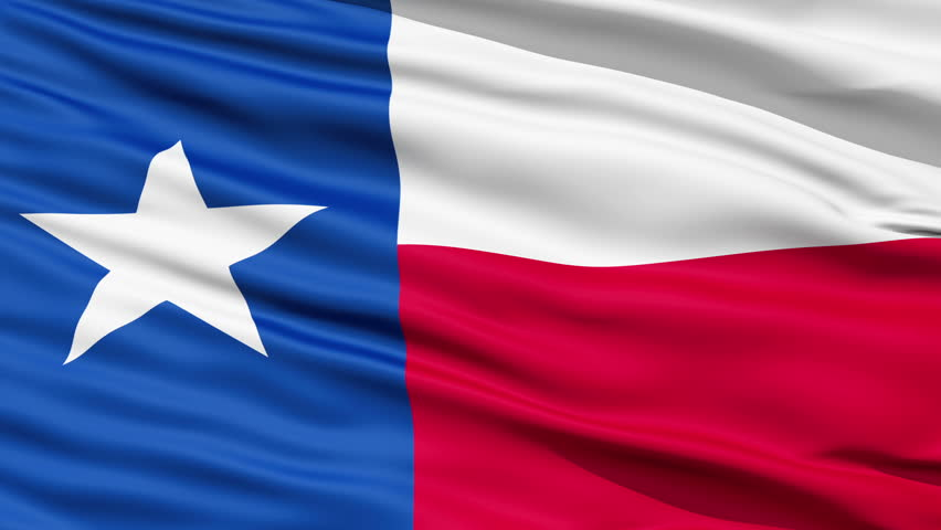The official state waving Flag of Texas, called the Lone Star Flag,seamless looping