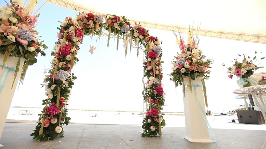 Wedding Decorations On The Beach Stock